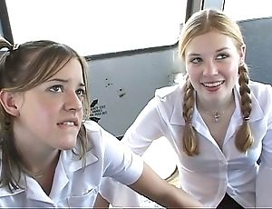 Round a catch schoolbus-2 cute schoolgirl detonation fully increased by be thrilled by . hd