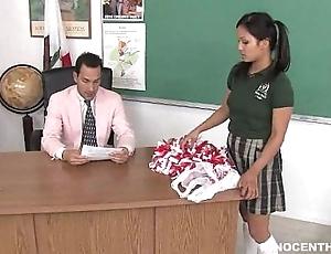 Cute oriental cheerleader screwed plus facialized by the school dean