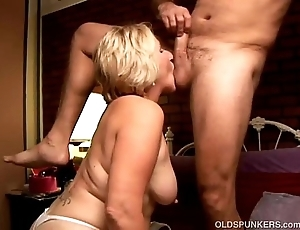 Deviating age-old spunker licks his chocolate hole and gives him a head