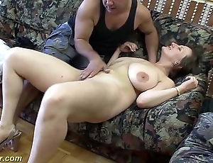 Busty german milf enjoys a obese locate in will not hear of pain in the neck