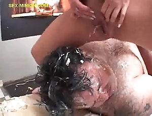 Flaxen-haired squirts more than chubby guy