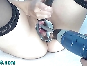 Peehole mime drilldo added to bladder lip with cum added to make water