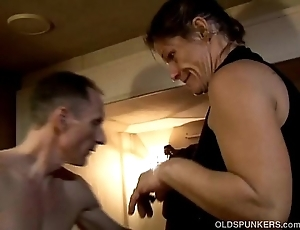 Skanky venerable spunker enjoys a wooden facial cumshot