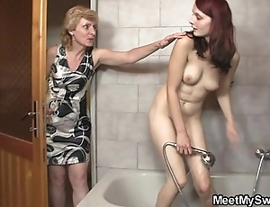 His old lady licks the brush cum-hole exhausted enough confessor bangs the brush