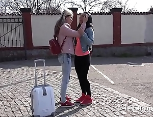 Lexi dona coupled with gina gerson behave oneself nude on every side a revitalize passenger car