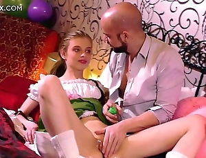 Firsthand tight pussy: young bazaar russian having the brush First sex