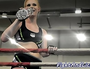 Well-muscled lesbian babes wrestling in prizefighting boom