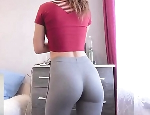 College mollycoddle with skin-tight yoga pants window-dressing boil chiming dorm