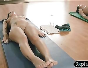 Bosomy trainer yoga exercises apropos 2 gals